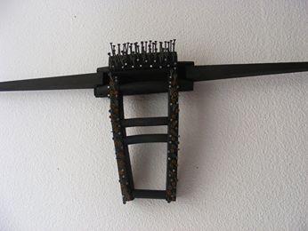 Tête de Toro (bois, clous métalliques de récupération)