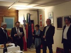 Inauguration de l' Atelier Hotel Seville de Jose Vaz en présence du Vice Consul du Portugal et sa femme, ainsi que le Président de la Communauté des Communes Tarn et Dadou, Le Maire de Briatexte et Madame Le Maire adjoint à la Culture de la Mairie de Graulhet.